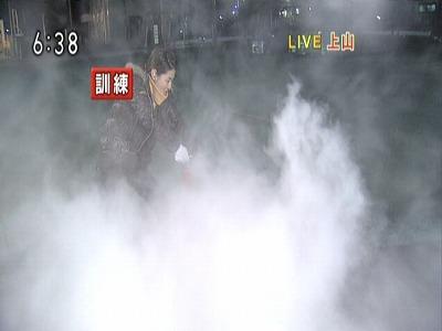火事だー。従来の消火訓練はこんな感じで煙いし、環境にわるい